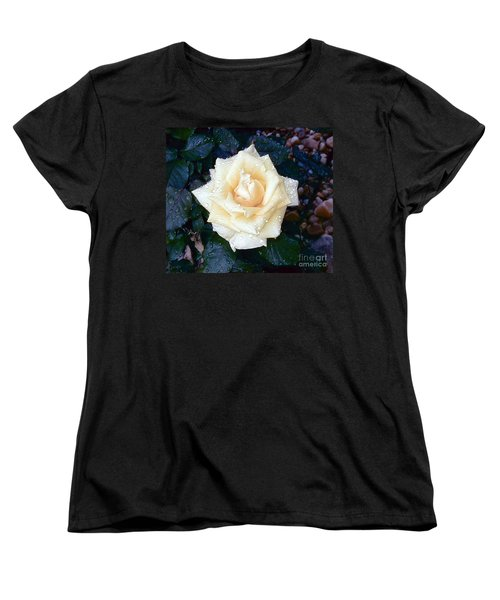 Women's T-Shirt (Standard Cut) featuring the photograph Yellow Rose At Dawn by Alys Caviness-Gober