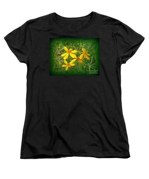Women's T-Shirt (Standard Cut) featuring the photograph Yellow Quartet by Lew Davis