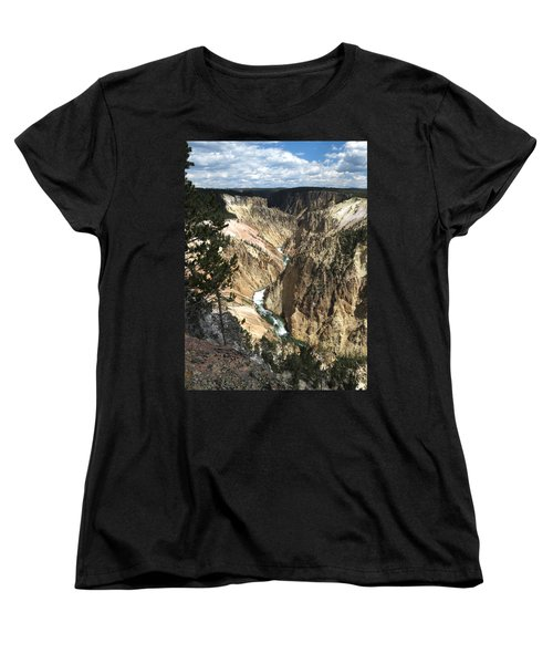 Women's T-Shirt (Standard Cut) featuring the photograph Yellowstone Canyon by Laurel Powell