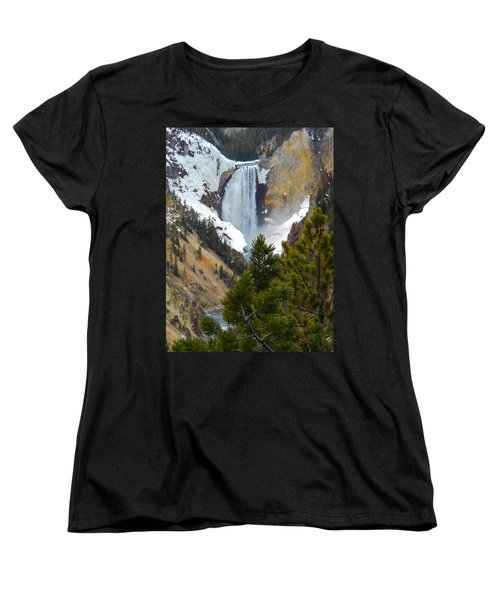 Women's T-Shirt (Standard Cut) featuring the photograph Yellowstone Lower Falls In Spring by Michele Myers