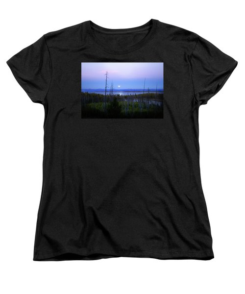 Women's T-Shirt (Standard Cut) featuring the photograph Yellowstone Moon by Ann Lauwers