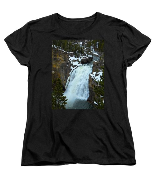 Women's T-Shirt (Standard Cut) featuring the photograph Yellowstone Upper Falls In Spring by Michele Myers