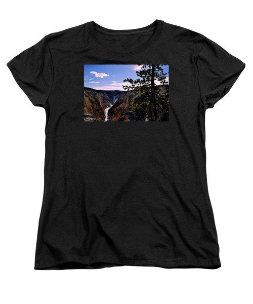Women's T-Shirt (Standard Cut) featuring the photograph Yellowstone Waterfall by Matt Harang