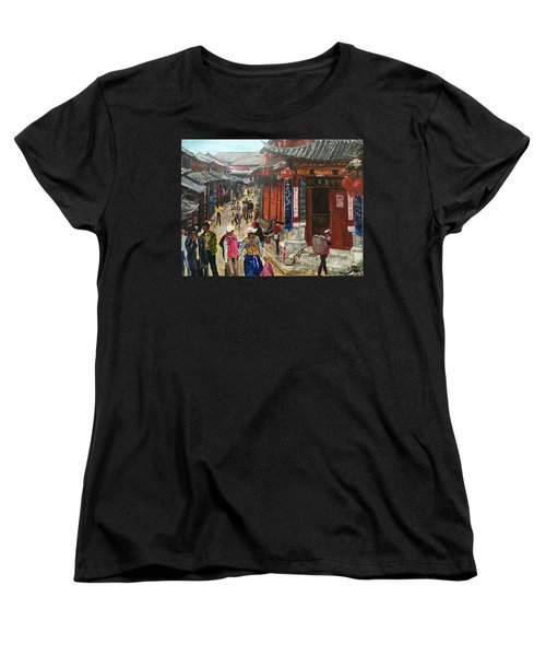 Women's T-Shirt (Standard Cut) featuring the painting Yesterday Once More by Belinda Low