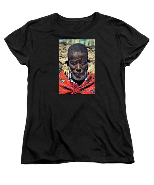 Women's T-Shirt (Standard Cut) featuring the photograph Portrait Of Young Maasai Woman At Ngorongoro Conservation Tanzania by Amyn Nasser