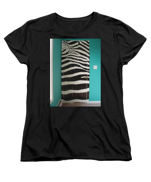 Zebra Stripe Mural - Door Number 2 Women's T-Shirt (Standard Cut) by Sean Connolly
