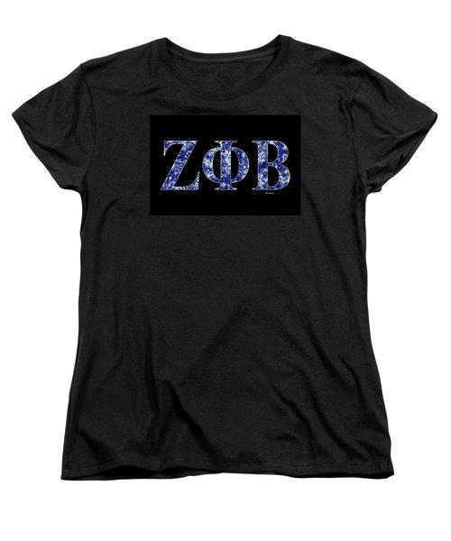 Women's T-Shirt (Standard Cut) featuring the digital art Zeta Phi Beta - Black by Stephen Younts