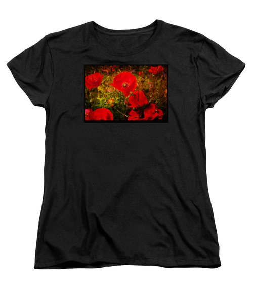 Women's T-Shirt (Standard Cut) featuring the photograph  Poppies by Beverly Cash