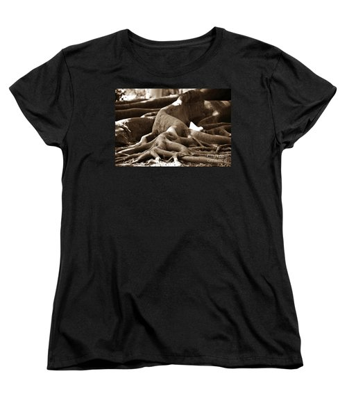 Fig Tree Roots Women's T-Shirt (Standard Cut) by Angela Murray