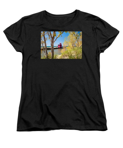 Holland Mi Lighthouse Women's T-Shirt (Standard Cut) by Larry Carr