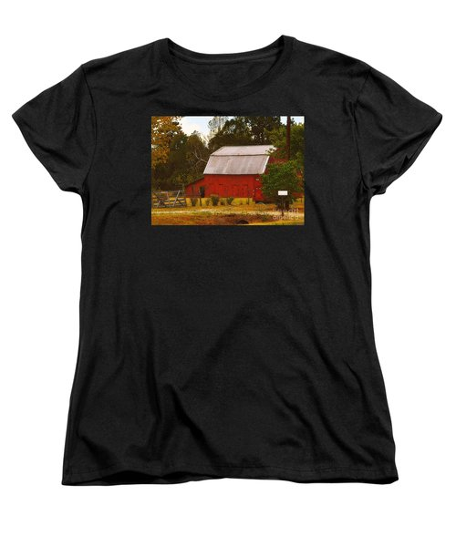 Women's T-Shirt (Standard Cut) featuring the photograph Ozark Red Barn by Lydia Holly