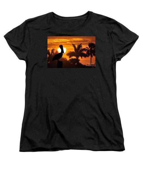 Women's T-Shirt (Standard Cut) featuring the photograph Pelican At Sunset by Dan Friend