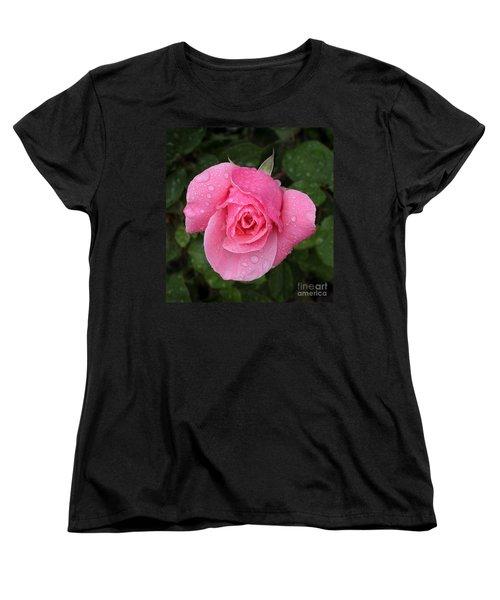 Pink Rose Macro Shot With Rain Drops Women's T-Shirt (Standard Cut)