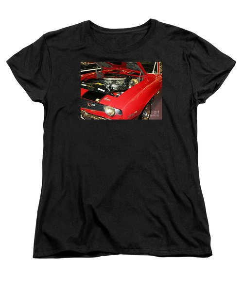 Women's T-Shirt (Standard Cut) featuring the photograph 1969 Z-28 Crossram With 9737 Copo Option by John Black