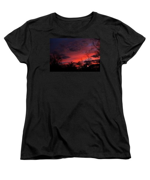 Women's T-Shirt (Standard Cut) featuring the photograph 2012 Sunrise In My Back Yard by Paul SEQUENCE Ferguson             sequence dot net