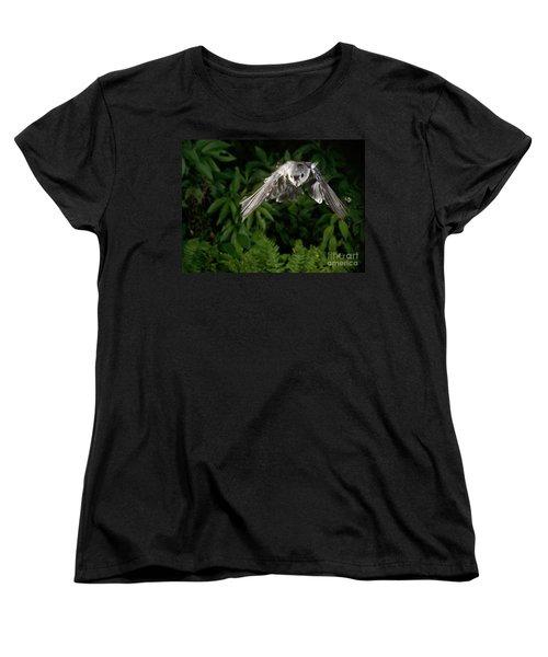 Tufted Titmouse In Flight Women's T-Shirt (Standard Cut) by Ted Kinsman