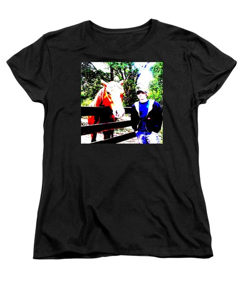 Women's T-Shirt (Standard Cut) featuring the photograph a Boy and his Horse by George Pedro