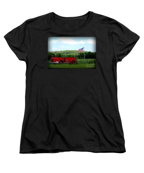 Women's T-Shirt (Standard Cut) featuring the photograph A Tribute To The Fireman by Kathy  White