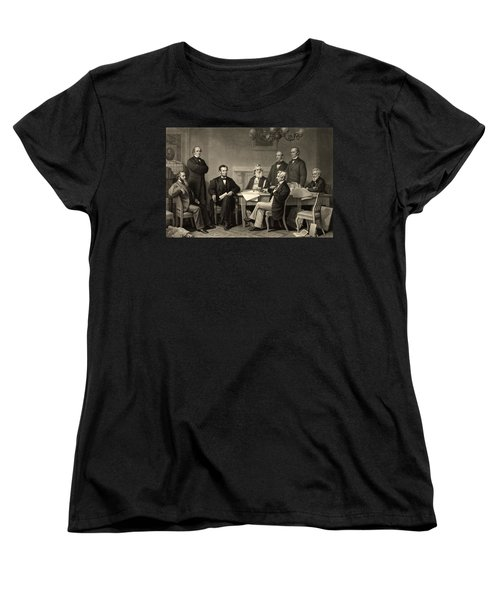 Women's T-Shirt (Standard Cut) featuring the photograph Abraham Lincoln At The First Reading Of The Emancipation Proclamation - July 22 1862 by International  Images