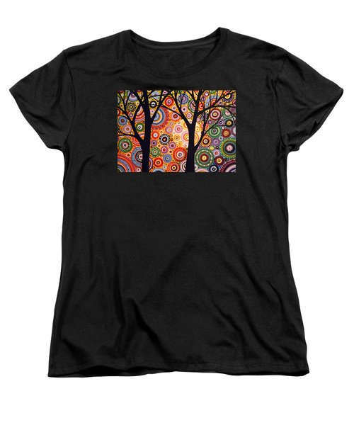 Women's T-Shirt (Standard Cut) featuring the painting Abstract Modern Tree Landscape Distant Worlds By Amy Giacomelli by Amy Giacomelli