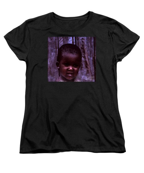 Women's T-Shirt (Standard Cut) featuring the pyrography African Little Girl by Lydia Holly