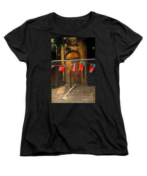 Women's T-Shirt (Standard Cut) featuring the photograph After The Quakes - No Go Zone by Nareeta Martin