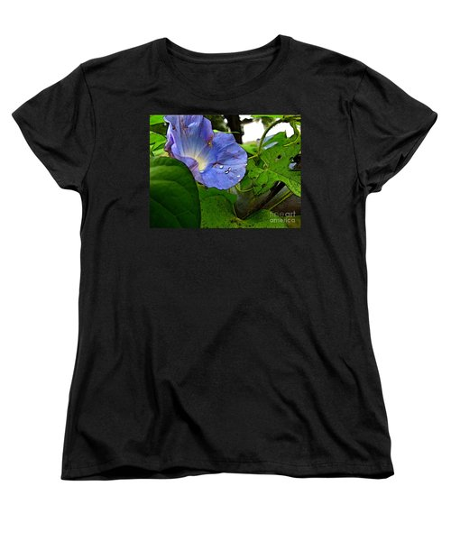 Women's T-Shirt (Standard Cut) featuring the digital art Aging Morning Glory by Debbie Portwood