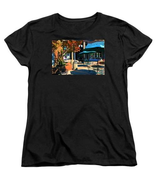 Women's T-Shirt (Standard Cut) featuring the mixed media Alice's Wonderland Cafe by Terence Morrissey