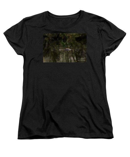 Women's T-Shirt (Standard Cut) featuring the photograph Alligator In Swamp by Dan Friend