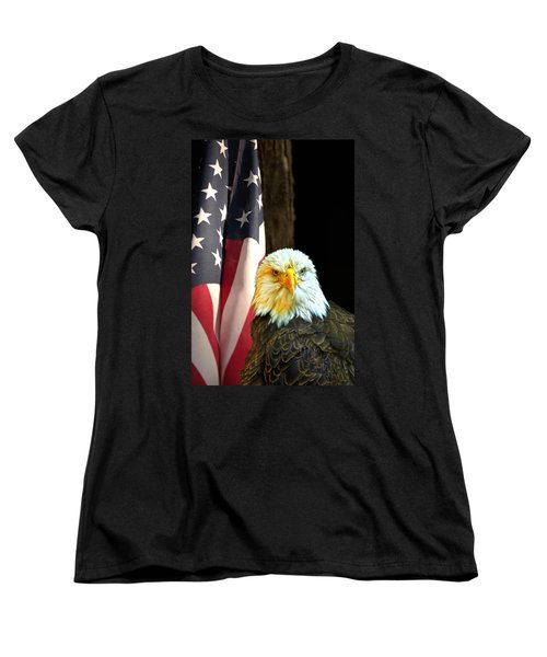 Women's T-Shirt (Standard Cut) featuring the photograph American Eagle And American Flag by Randall Branham