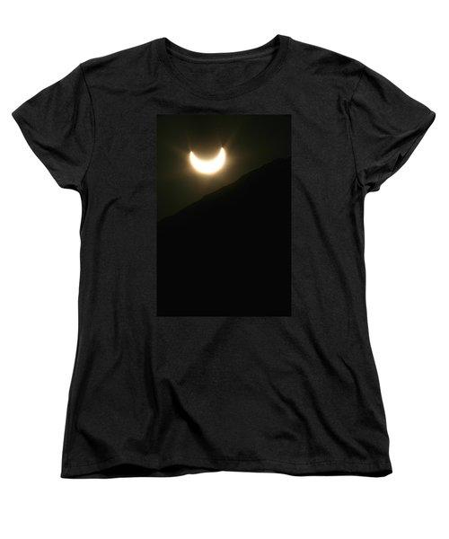 Women's T-Shirt (Standard Cut) featuring the photograph Annular Solar Eclipse At Sunset Number 1 by Lon Casler Bixby