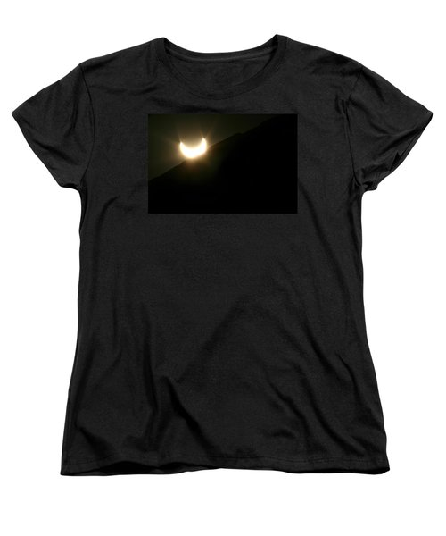 Women's T-Shirt (Standard Cut) featuring the photograph Annular Solar Eclipse At Sunset Number 2 by Lon Casler Bixby