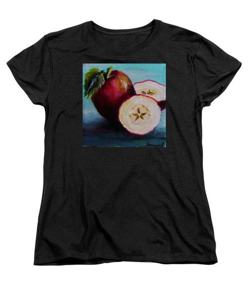 Women's T-Shirt (Standard Cut) featuring the painting Apple Magic by Karen  Ferrand Carroll