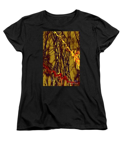 Women's T-Shirt (Standard Cut) featuring the digital art Shapes Of Fire by Leo Symon