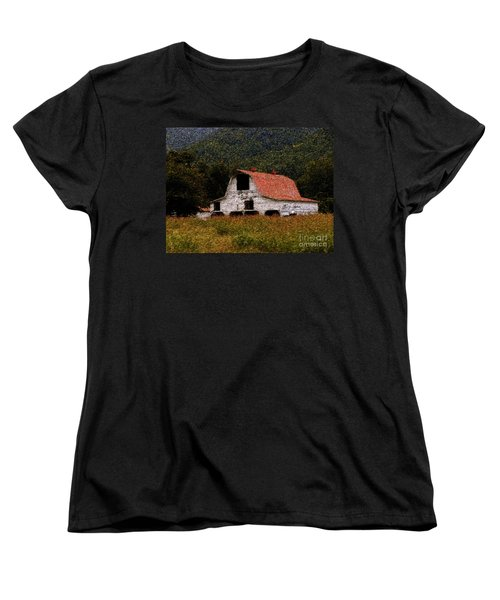 Women's T-Shirt (Standard Cut) featuring the photograph Barn In Mountains by Lydia Holly