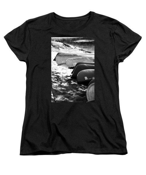 Beached Kayaks Women's T-Shirt (Standard Cut) by Julia Wilcox
