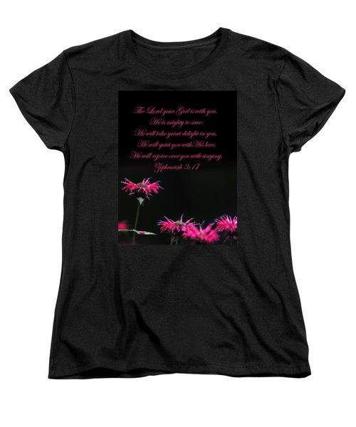 Women's T-Shirt (Standard Cut) featuring the photograph Bee Balm And Bible Verse by Randall Branham