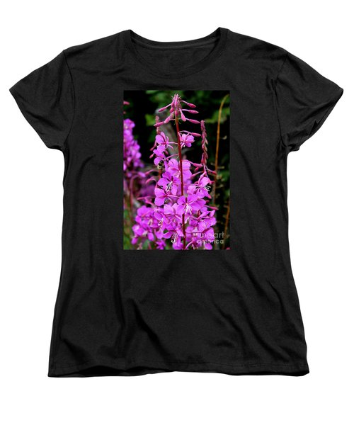 Women's T-Shirt (Standard Cut) featuring the photograph Bee On Fireweed In Alaska by Kathy  White