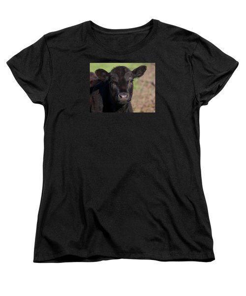 Women's T-Shirt (Standard Cut) featuring the photograph Black Cow by Randy Bayne