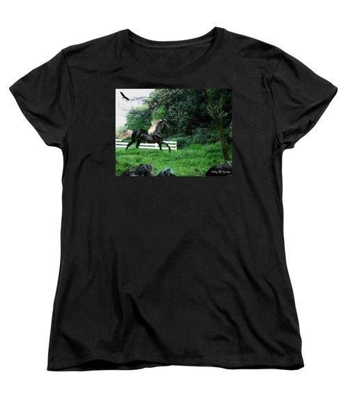 Black Stallion Women's T-Shirt (Standard Cut) by Kelly Turner