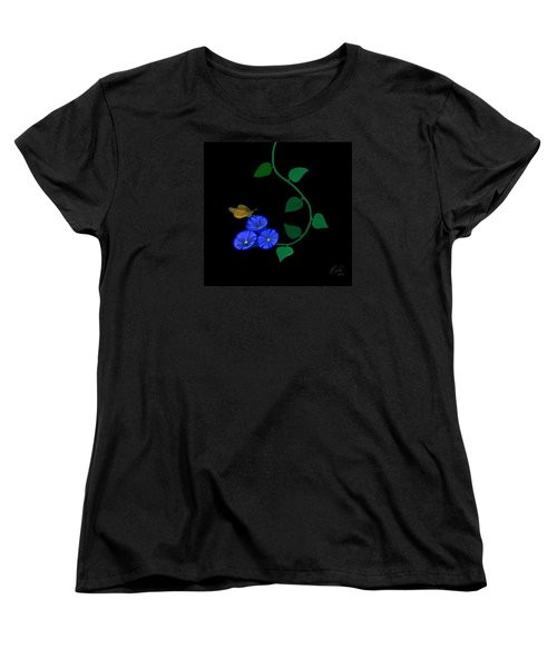 Blue Flower Butterfly Women's T-Shirt (Standard Cut) by Rand Herron
