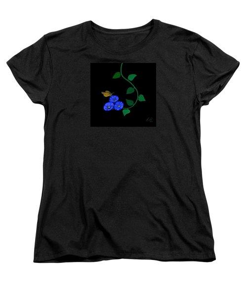 Blue Flower Butterfly Women's T-Shirt (Standard Cut)