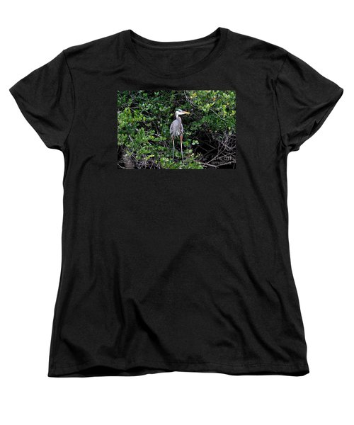 Women's T-Shirt (Standard Cut) featuring the photograph Blue Heron In Tree by Dan Friend