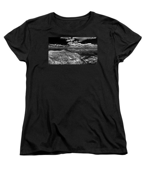 Bryce Canyon Ampitheater - Black And White Women's T-Shirt (Standard Cut) by Larry Carr