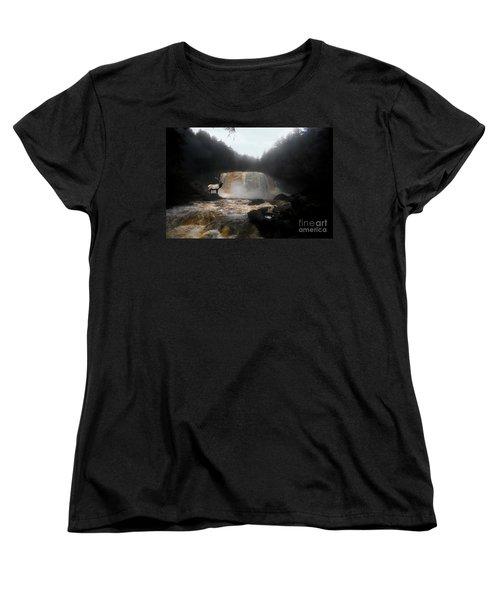Women's T-Shirt (Standard Cut) featuring the photograph Bull Elk In Front Of Waterfall by Dan Friend
