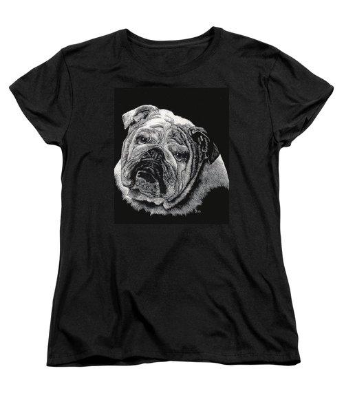 Bulldog Women's T-Shirt (Standard Cut) by Rachel Hames