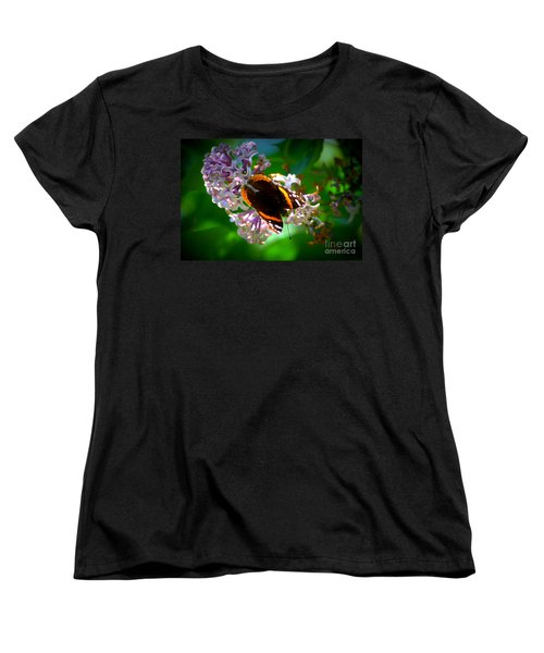 Butterfly On Lilac Women's T-Shirt (Standard Cut) by Kevin Fortier