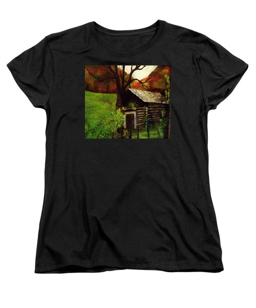 Women's T-Shirt (Standard Cut) featuring the painting Cabin By A Hillside by Christy Saunders Church