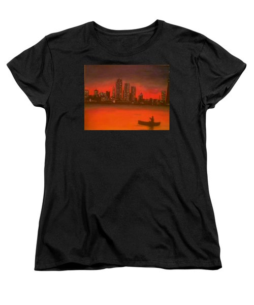 Canoe By The City Women's T-Shirt (Standard Cut) by Christy Saunders Church