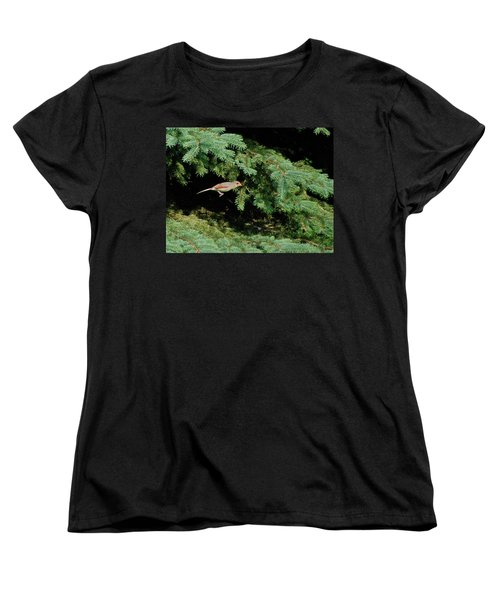 Women's T-Shirt (Standard Cut) featuring the photograph Cardinal Just A Hop Away by Thomas Woolworth